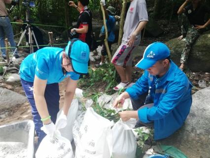 กปภ.สาขาบ้านบึง ร่วมกิจกรรม CSR สร้างฝายชะลอน้ำ ณ เขาอ่างช้างน้ำ